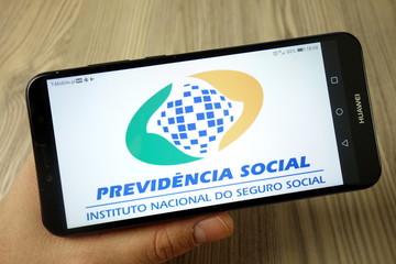 KONSKIE, POLAND - November 24, 2019: Brazilian Social Security (INSS) logo on mobile phone