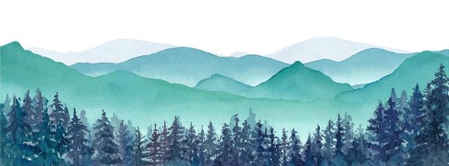 霧の山々と針葉樹林の風景パノラマ 水彩イラストのトレースベクター、レイアウト変更不可 Fototapete