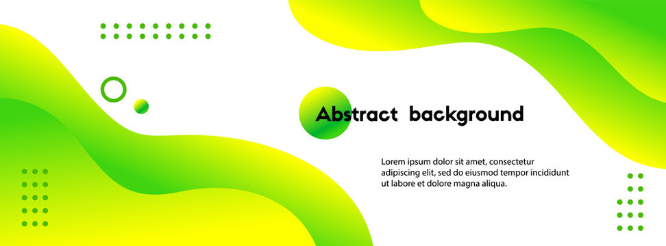 Liquid green abstract background. Vector fluid banner template for social media, web sites. Wavy gradient shapes