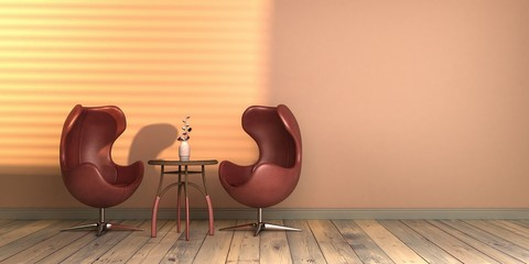 Obraz projekt wnętrza ze światłem słonecznym szablon pusta ściana classic blue kolor roku 2020 rendering 3d - fototapety do salonu