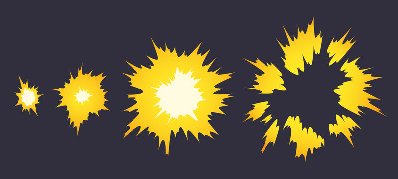 Cartoon explosion effect. Effect boom, explode flash, bomb comic book, vector illustration. Animation for game of the explosion effect, broken into separate frames.