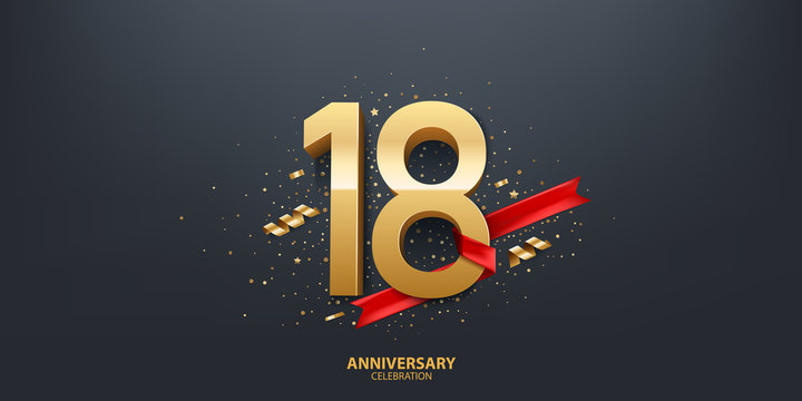 18th Year anniversary celebration background. 3D Golden number wrapped with red ribbon and confetti on black background.