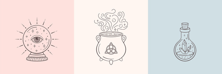 Witch and magic symbols with crystal ball, magic crystal bottle, cauldron. Monochrome vector illustration, isolated on white background Wall mural