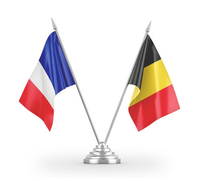 Belgium and France table flags isolated on white 3D rendering