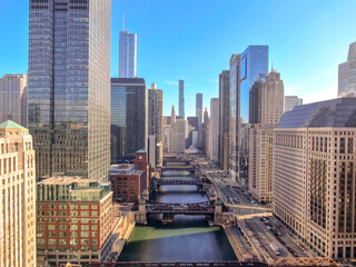Fototapete - Chicago downtown buildings skyline aerial