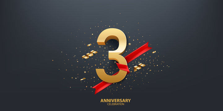 3rd Year anniversary celebration background. 3D Golden number wrapped with red ribbon and confetti on black background.