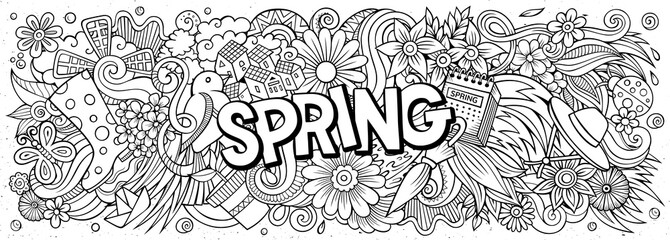 Spring hand drawn cartoon doodles illustration. Line art vector banner