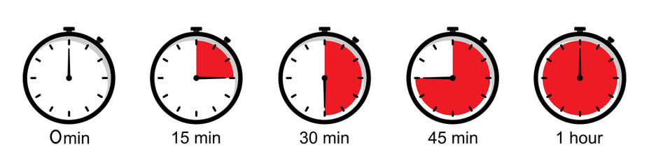 Timer icons on a white background. Countdown in the form of a timer on a white background in a flat style