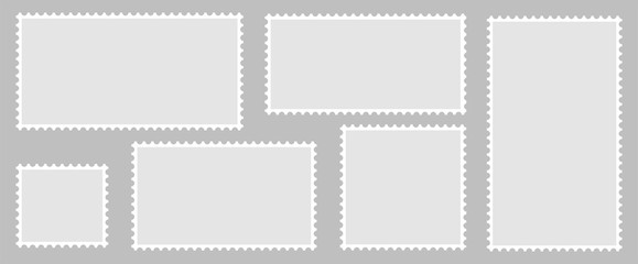 Postage stamps set. Blank postage stamps for websites. Postage stamps in a flat style on a gray background.