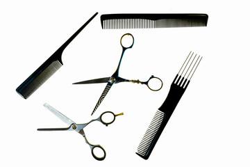 Narzędzia fryzjerskie, nożyczki i grzebień
