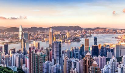 Photo sur Aluminium Hong-Kong Sunset Over Victoria Harbor in Hong Kong