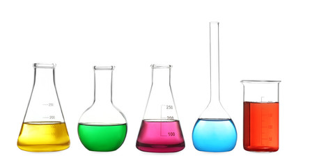 Fototapete - Different laboratory glassware with colorful liquids isolated on white