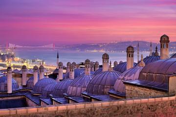 Old city of Istanbul with Galata bridge and Bosporus bridge, Turkey