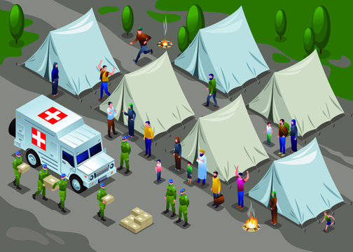 Peacekeepers Blue Helmets United Nations delivered humanitarian aid in refugee camp illustration isometric icons on isolated background