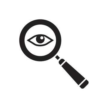 Magnifier with eye glass outline Icon template black color editable. Magnifier with eye glass outline Icon symbol Flat vector illustration for graphic and web design.
