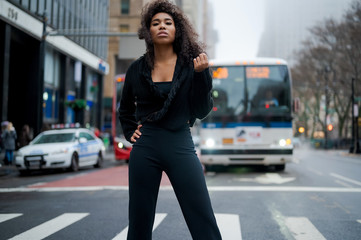 young woman in the city
