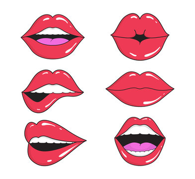 Woman lips with smile, kiss. Mouths collection of girl retro style for comic book. Female open mouth with teeth. Sticker lip shape for face. Lady with red lipstick, makeup expressing emotion. Vector