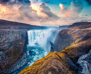 Tuinposter Watervallen Tourist standing on the shore of falling water of the most powerful waterfall in Europe - Dettifoss. Impressive summer sunrise in Jokulsargljufur National Park, Iceland.