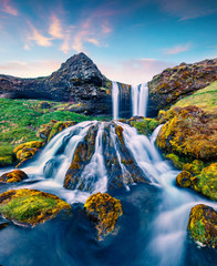 Poster de jardin Cascades Breathtaking summer sunrise on Sheep's Waterfall. Stunning morning scene of Iceland, Europe. Beauty of nature concept background.