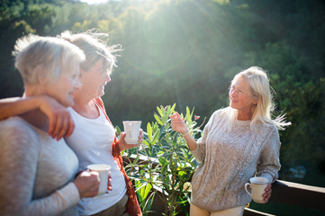 Senior women friends standing outdoors on terrace, talking. Wall mural