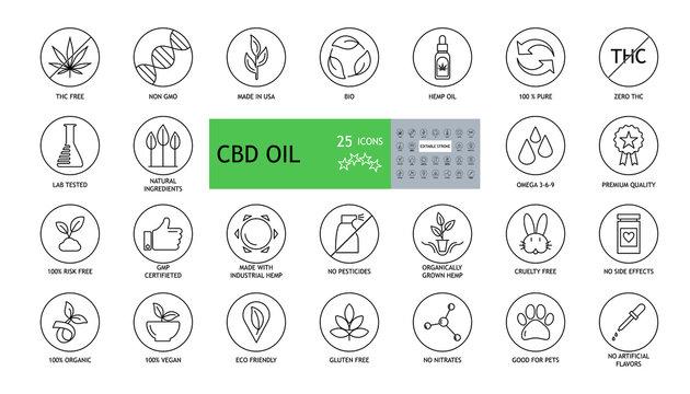 Set of 25 round CBD oil icons. THC free, non gmo, made in USA, bio, 100 vegan, premium quality, lab tested, omega 3-6-9, pure natural, no pesticides, risk free, organic, no gluten, gmp, marijuana.