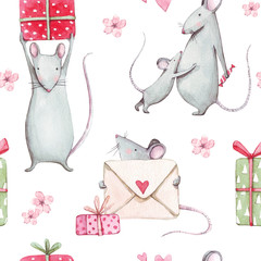 Beautiful seamless watercolor pattern with cute mouse and pink hearts, gift and flowers. Perfect for your project,packaging,Wallpaper,cover design, invitations, birthday, valentine's day.