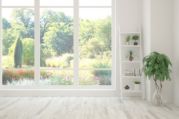 Stylish empty room in white color with summer landscape in window. Scandinavian interior design. 3D illustration