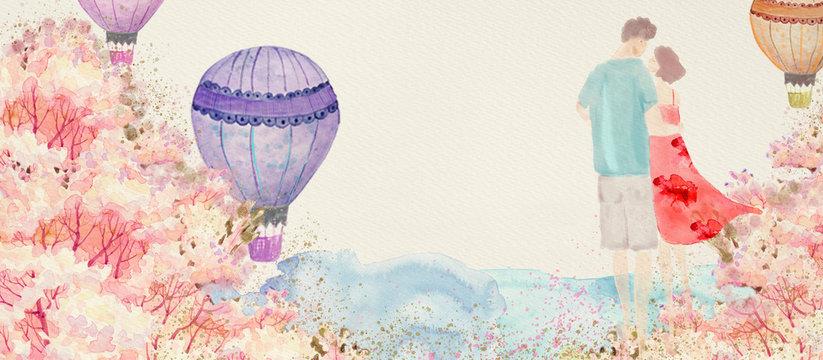 Love concept, Valentine's Day card, watercolor