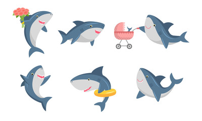 Set of cute humanized shark in different life situations. Vector illustration in flat cartoon style.