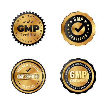 GMP Certified luxury gold badges. Industrial stickers for premium products with Good Manufacturing Practice tag