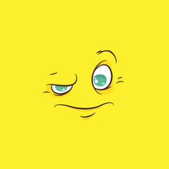 Cartoon face with a frown on a yellow background, vector image.