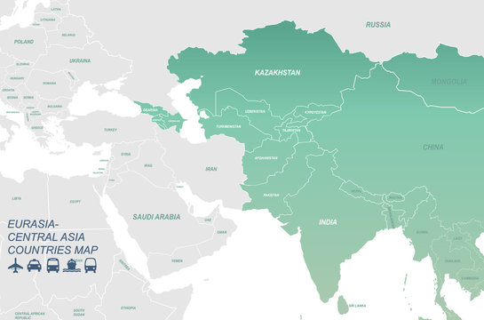 central asia map. middl east map. world map with vector