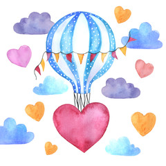 Watercolor card, balloon, hearts and clouds. Colorful illustration isolated on white background. For the festive print for Valentine's Day, Birthday, Wedding, Mother's Day.