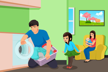 Father Doing Laundry While Mother and Kids in the Living Room Illustration