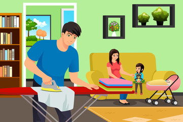 Father Ironing Clothes While Mother and Kids in the Living Room Illustration
