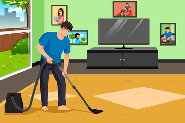 Father Vacuuming the Carpet in the Living Room Illustration