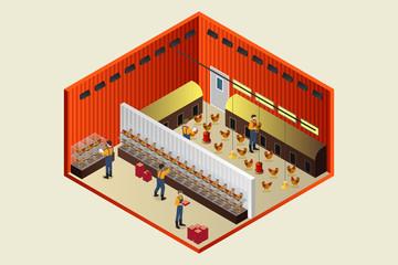 Isometric Chicken Coop Farm Vector Illustration