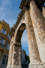 Arch of the Sergii from the year 30 before Christ in the old Town of Pula in Croatia