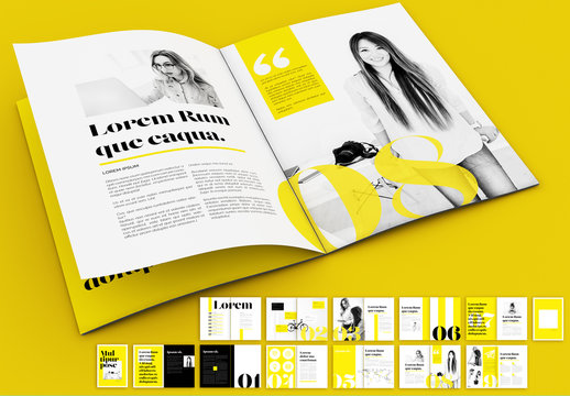 Yellow and Black Magazine Layout