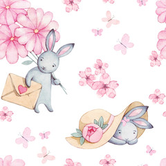 Beautiful seamless watercolor pattern with cute rabbit in hat and pink flowers, butterfly and heart.Perfect for your project, packaging, wallpaper, cover design, invitations, birthday, valentine's day
