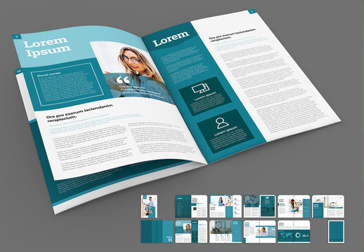 Teal and White Brochure Layout