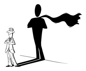 Vector funny comic cartoon drawing of man or businessman and his superhero or heroic shadow on wall. Business concept of success and self confidence.