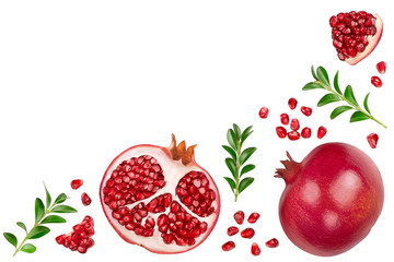 Pomegranate isolated on white background with clipping path and full depth of field. Top view with copy space for your text. Flat lay