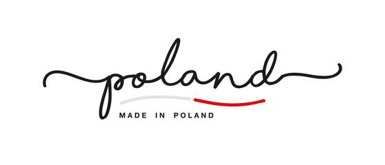 Made in Poland handwritten calligraphic lettering logo sticker flag ribbon banner Wall mural