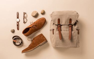 Men's accessories - camel shoes, khaki backpack and leather belt