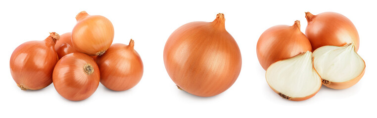 Canvas Prints Fresh vegetables yellow onion isolated on white background close up. Set or collection