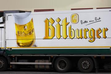 giessen, hesse/germany - 20 01 2020: bitburger beer truck in giessen germany