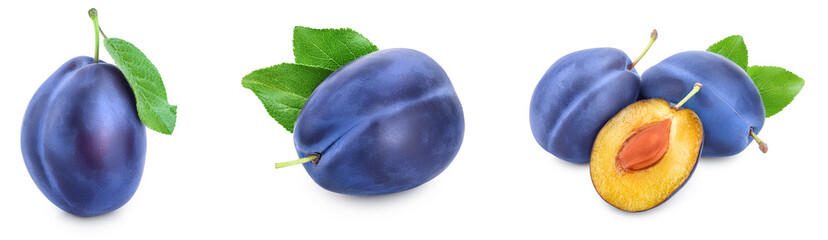 fresh blue plum with leaves isolated on white background. Set or collection