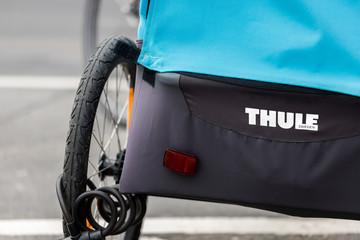 giessen, hesse/germany - 20 01 2020: thule bike trailer in giessen germany