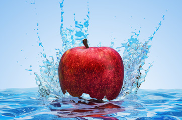 Apple with water splashes, 3D rendering